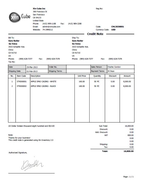 Credit Note Form Format Credit Note Template