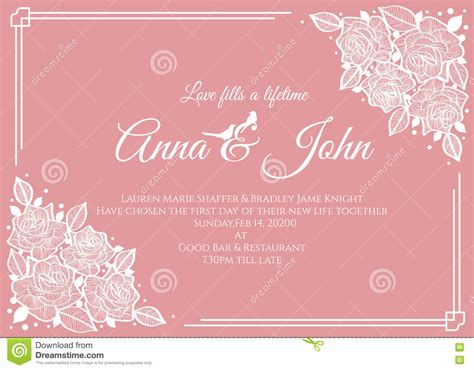 wedding card template apracticalwedding wedding card abstract white floral frame on pink