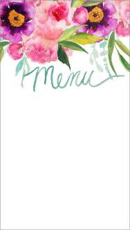 Customizable Menu Templates by Customizable Watercolor Printable Menu