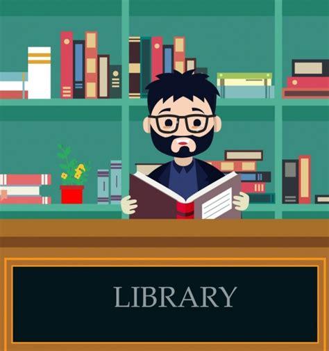 membaca format eps perpustakaan latar belakang orang membaca buku ikon kartun