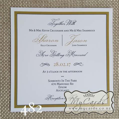 wedding invitations south auckland gold border square wedding invitation design 482