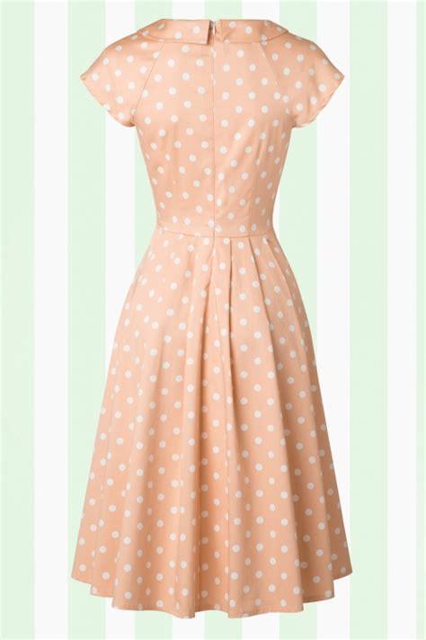 peach swing dress 50s josephine polka dot swing dress in peach