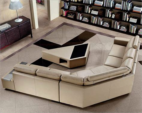 4pc Beige Leather Sectional Sofa Set 44l0646hl Beige Leather Sectional Sofa