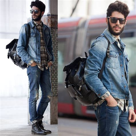 Jaket Denim Pria khalil zdaa newfrog leather bag aldo sunglasses in casablanca streets lookbook