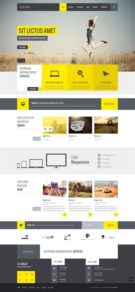 templates for html5 solana responsive html5 template by abcgomel themeforest