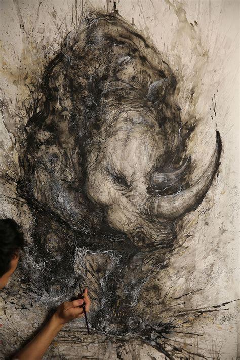 splattered ink paintings   turn chaos  art