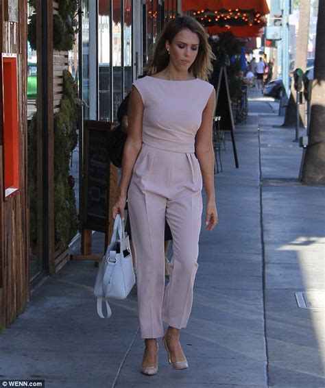 Light Pink Jumpsuit by Jessica Alba Indulges Her Sweet Tooth By Frosting Cupcakes
