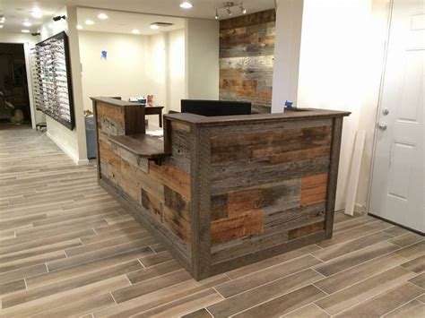 custom made reception desk made custom barn wood reception desk by defiance