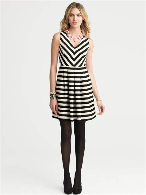 banana republic black and white striped dress black combo