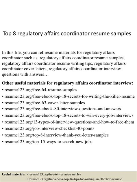 Regulatory Test Engineer Cover Letter by Top 8 Regulatory Affairs Coordinator Resume Sles