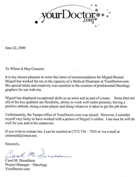 Recommendation Letter For Master Position Yourdoctor Recommendation Letter June 22th 2000