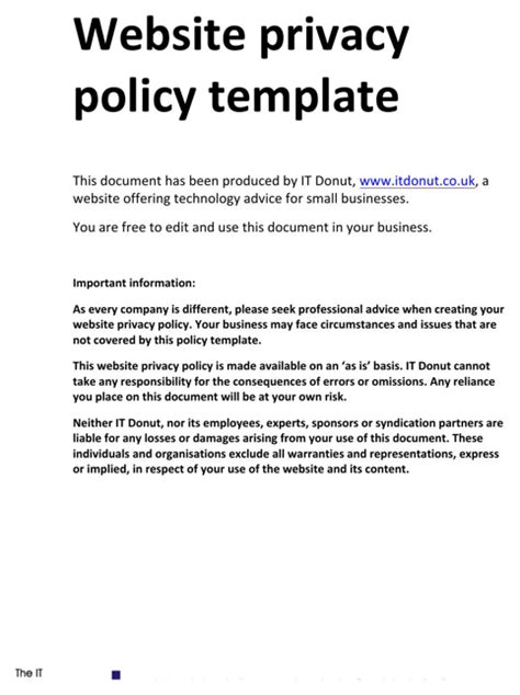 Download Privacy Policy Sle For Free Formtemplate Website Privacy Policy Template