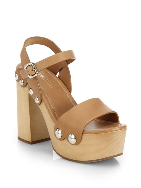 platform sandals prada wooden heel leather platform sandals in brown
