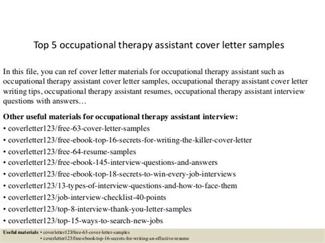 Occupational Therapy Aide Cover Letter by Top 5 Occupational Therapy Assistant Cover Letter Sles