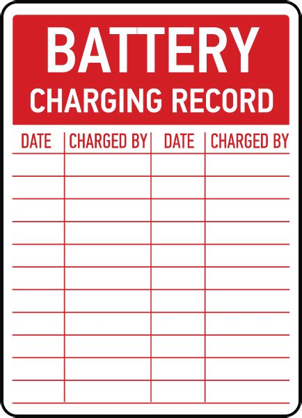 design your own record label battery charging record sign e4633 by safetysign com