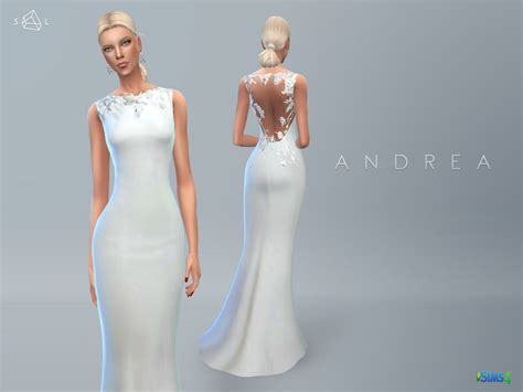 Longdress Sc 22050 wedding dress andrea the sims 4 catalog
