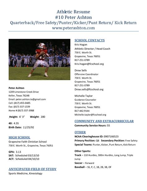 best photos of high school football profile templates college athletic resume template