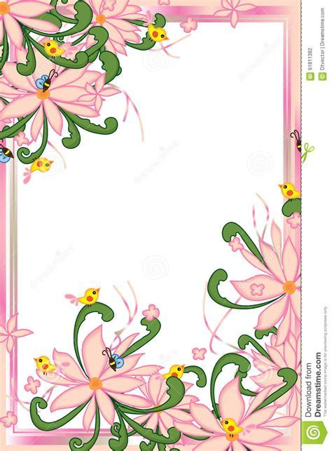Flower Pink Pastel Bee Bird Swirl Green Leaves Frame Stock