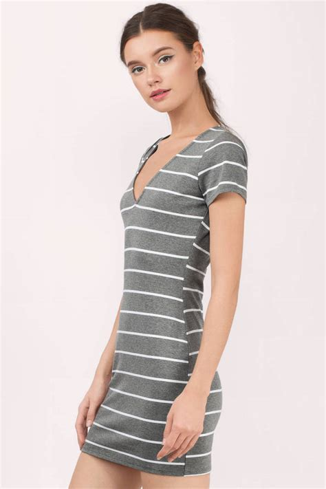 Striped T Shirt Dress grey and white dress v dress grey dress