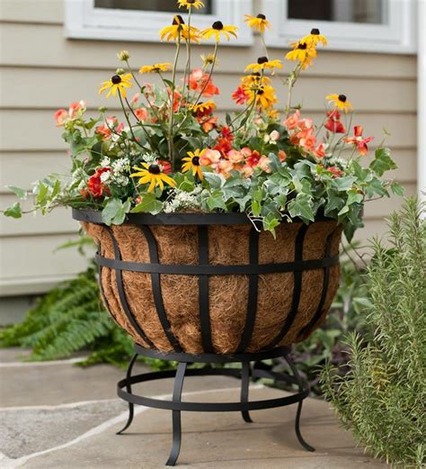 Garden Planter Stands unique and beautiful wrought iron plant stands outdoor front yard landscaping ideas