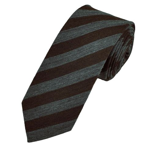 brown grey striped wool blend tie from ties planet uk