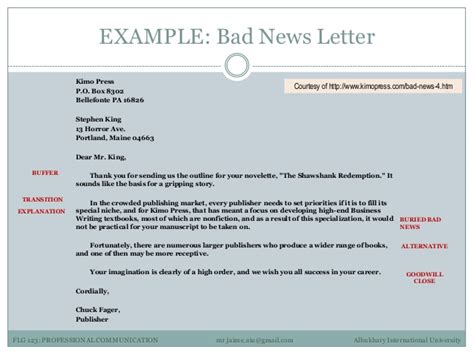 bad news letter in business communication exles professional communication 3 exles