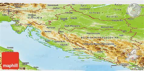 physical map of croatia physical panoramic map of croatia
