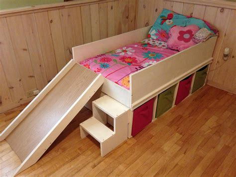 bed for toddlers diy toddler bed with slide and toy storage diy toddler