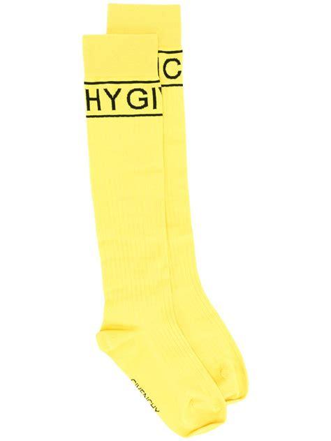yellow pattern socks givenchy logo pattern socks in yellow for men lyst