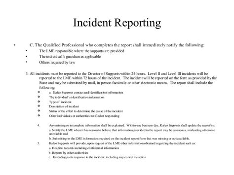 Kaleo Support Letter Incident Reporting