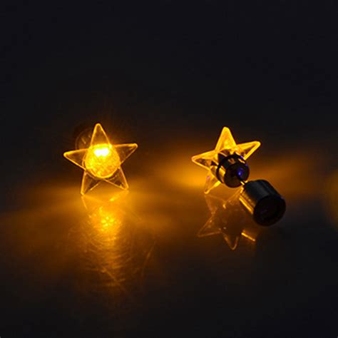 1 Pair Attractive Led Earrings Light Up Star Glowing Charm Light Up Earrings