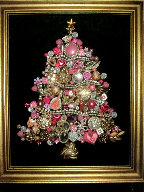 costume jewelry christmas tree framed pink rhinestones home