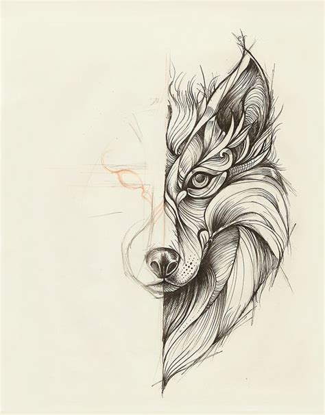 mandala wolf head tattoo design sample