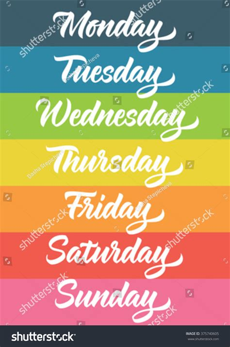 handwritten days week monday tuesday wednesday stock