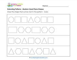 extend patterns worksheets for kindergarten extending patterns medium sized plane shapes