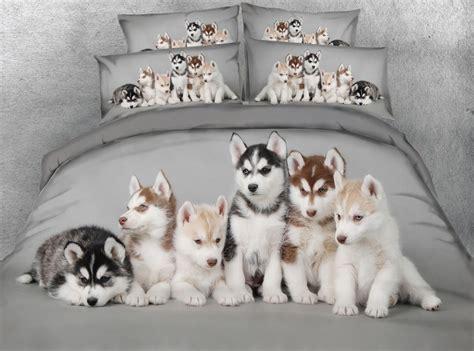 jf  husky babies  digital animal print bed sheet set dogs duvet cover set grey bedding sets