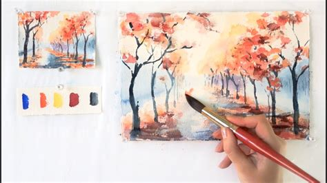 Watercolor Tutorial Step By Step | autumn alley step by step watercolor tutorial part 1