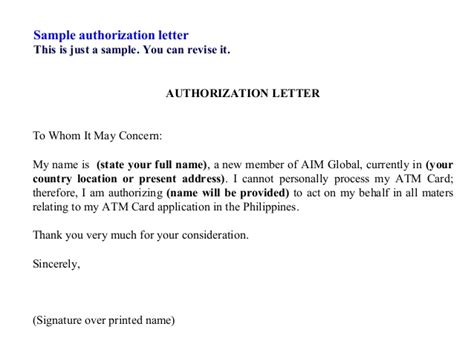 sle authorization letter for bank atm card collection authorization letter claim atm card sle of authorization