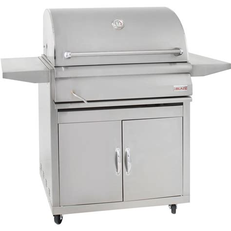 blaze 32 inch stainless steel freestanding charcoal grill with adjustable charcoal tray bbq guys