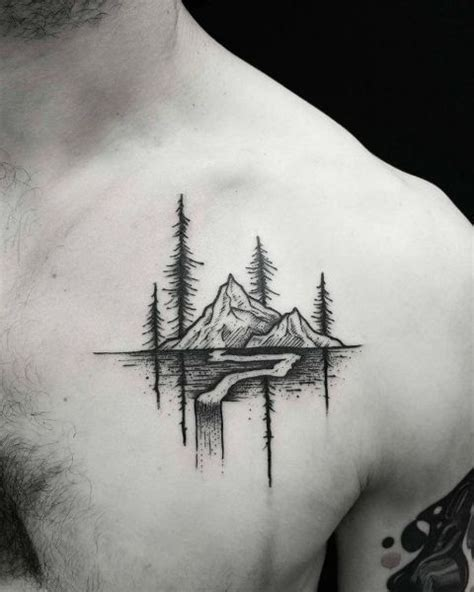 tree and mountain tattoo picture of mountain on the chest