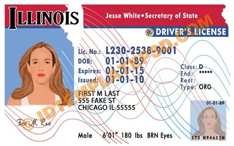 Contact Card Template Photoshop by This Is Illinois Usa State Drivers License Psd