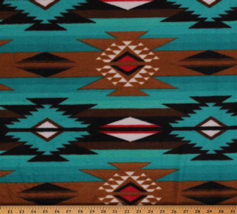 Southwestern L by Raindance Teal Brown Southwest Fleece Fabric Print By The