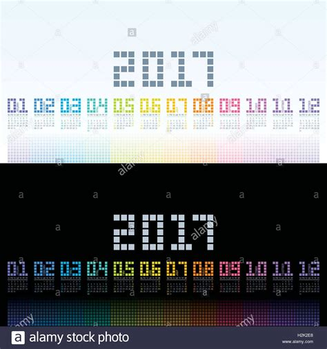 calendar 2017 cool template with digital colorful shining