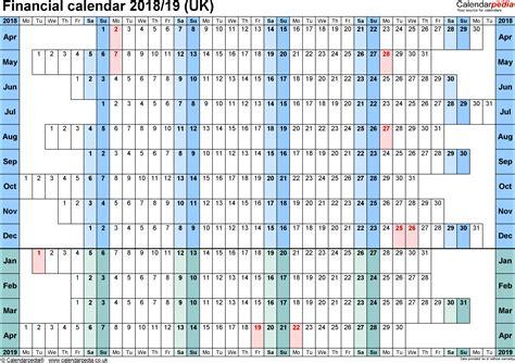 Calendar Template 2018 19 Financial Calendars 2018 19 Uk In Microsoft Word Format