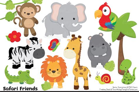 safari animals clip jungle animal clipart vectors by amanda ilkov