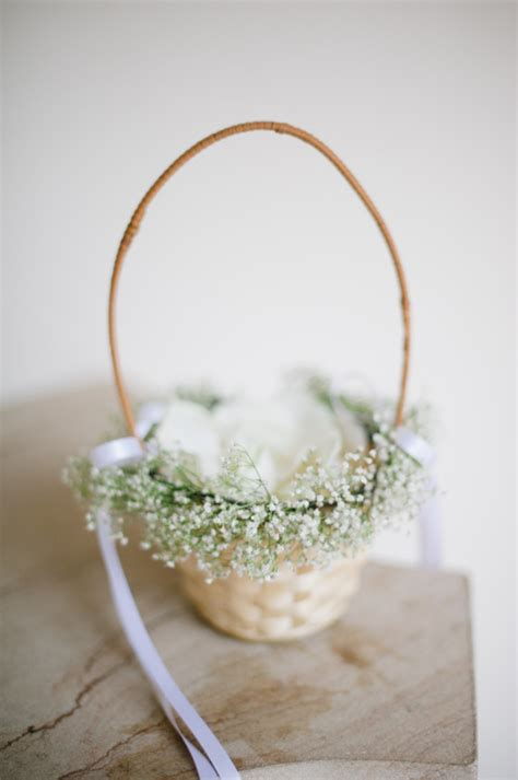 Flower Wedding Baskets by Flower Basket With Babys Breath Elizabeth