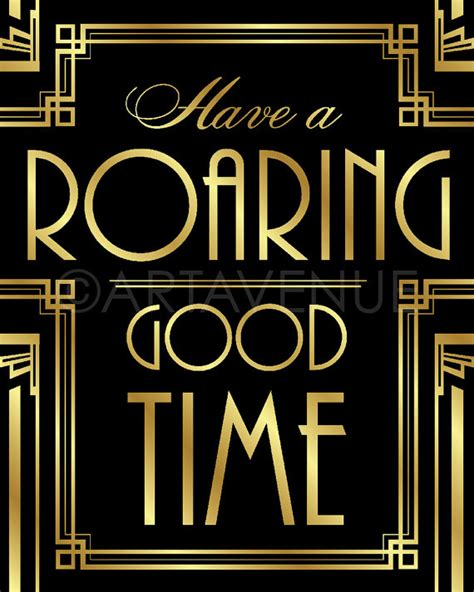 gatsby decor sign roaring good time quote printable gatsby party roaring twenties party art