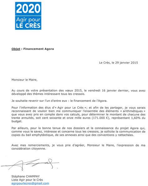 Modèle De Lettre à Un Maire Financement Agora Lettre 224 Monsieur Le Maire Agir Pour Le Cr 232 S