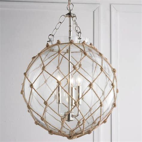 Beachy Chandeliers Rope Net Glass Sphere Chandelier