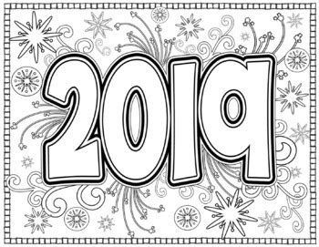 Free Coloring Page 2018 by New Year 2019 Coloring Pages For And Adults By
